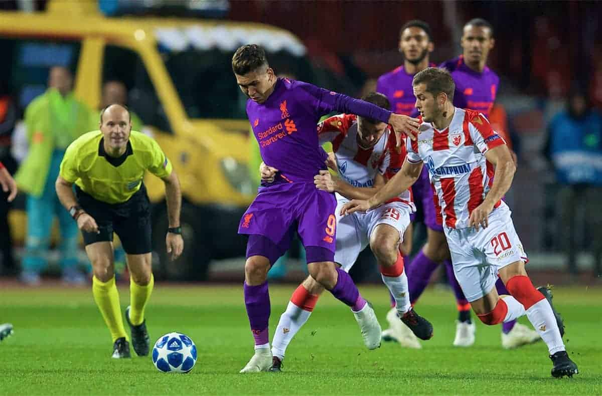 BELGRADE, SERBIA - Tuesday, November 6, 2018: Liverpool's Roberto Firmino is held back by FK Crvena zvezda Dušan Jovan?i? during the UEFA Champions League Group C match between FK Crvena zvezda (Red Star Belgrade) and Liverpool FC at Stadion Rajko Miti?. (Pic by David Rawcliffe/Propaganda)