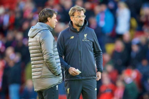 LIVERPOOL, ENGLAND - Sunday, November 11, 2018: Liverpool's manager Jürgen Klopp (R) and first team coach Peter Krawietz during the FA Premier League match between Liverpool FC and Fulham FC at Anfield. (Pic by David Rawcliffe/Propaganda)