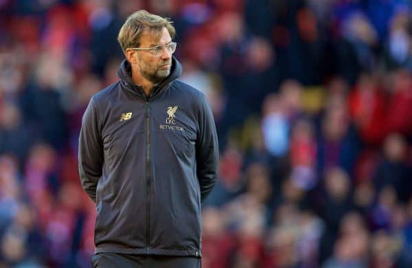 LIVERPOOL, ENGLAND - Sunday, November 11, 2018: Liverpool's manager Jürgen Klopp before the FA Premier League match between Liverpool FC and Fulham FC at Anfield. (Pic by David Rawcliffe/Propaganda)