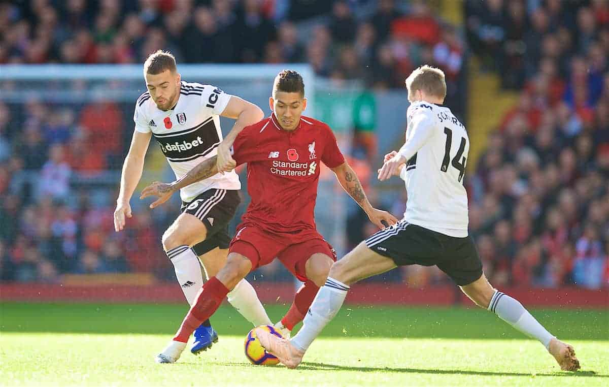 LIVERPOOL, ENGLAND - Sunday, November 11, 2018: Liverpool's Roberto Firmino during the FA Premier League match between Liverpool FC and Fulham FC at Anfield. (Pic by David Rawcliffe/Propaganda)
