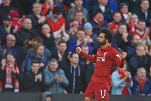 LIVERPOOL, ENGLAND - Sunday, November 11, 2018: Liverpool's Mohamed Salah celebrates scoring the first goal during the FA Premier League match between Liverpool FC and Fulham FC at Anfield. (Pic by David Rawcliffe/Propaganda)