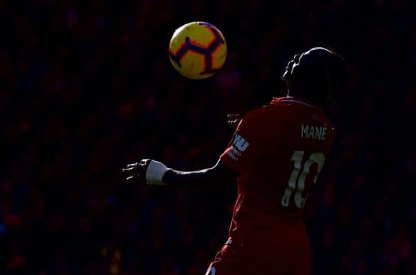 LIVERPOOL, ENGLAND - Sunday, November 11, 2018: Liverpool's Sadio Mane during the FA Premier League match between Liverpool FC and Fulham FC at Anfield. (Pic by David Rawcliffe/Propaganda)