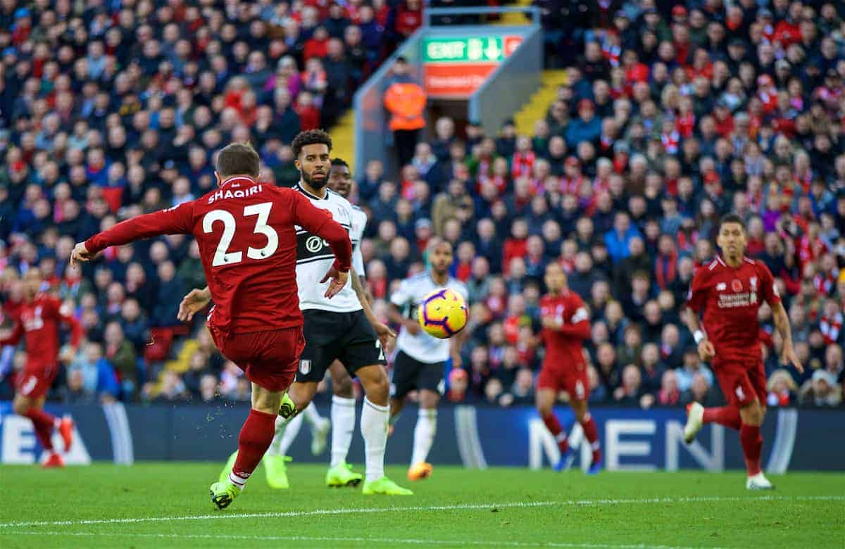 LIVERPOOL, ENGLAND - Sunday, November 11, 2018: Liverpool's Xherdan Shaqiri scores the second goal during the FA Premier League match between Liverpool FC and Fulham FC at Anfield. (Pic by David Rawcliffe/Propaganda)