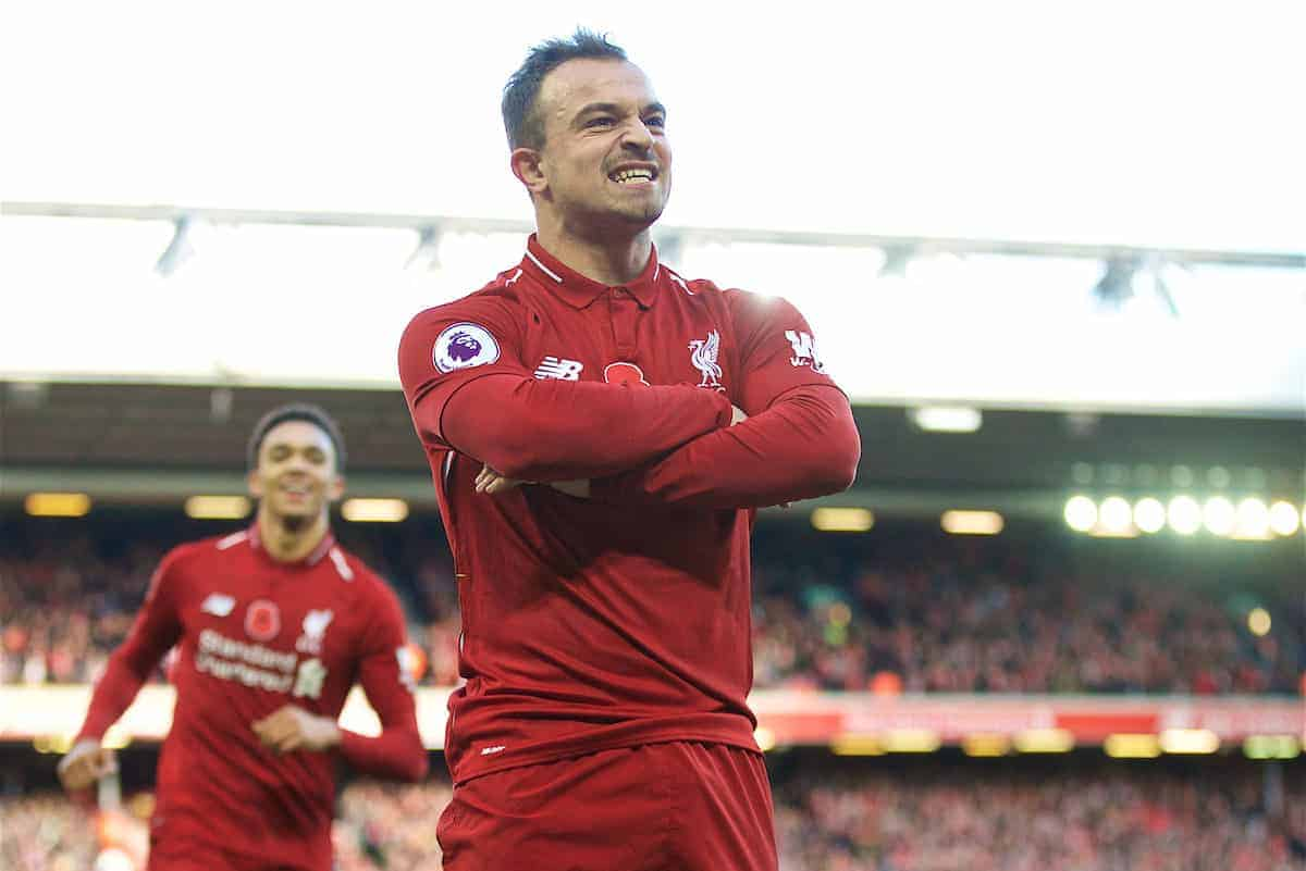 LIVERPOOL, ENGLAND - Sunday, November 11, 2018: Liverpool's Xherdan Shaqiri celebrates scoring the second goal during the FA Premier League match between Liverpool FC and Fulham FC at Anfield. (Pic by David Rawcliffe/Propaganda)