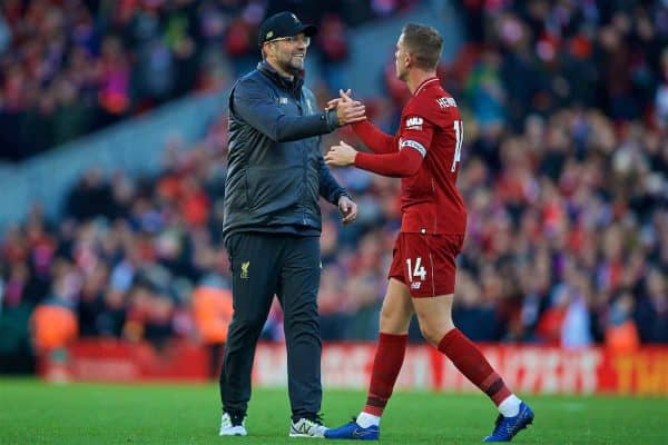 LIVERPOOL, ENGLAND - Sunday, November 11, 2018: Liverpool's manager Jürgen Klopp (L) and captain Jordan Henderson (R) after the 2-0 victory over Fulham during the FA Premier League match between Liverpool FC and Fulham FC at Anfield. (Pic by David Rawcliffe/Propaganda)