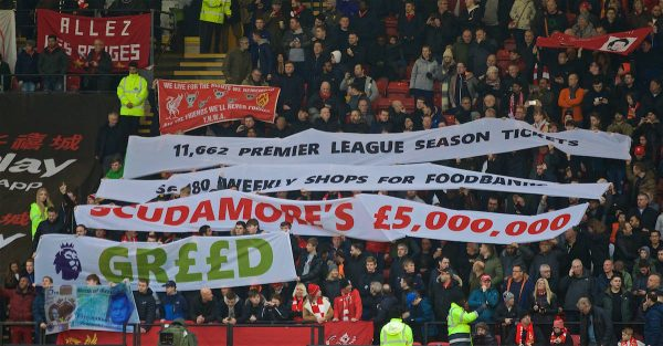 WATFORD, ENGLAND - Saturday, November 24, 2018: Liverpool supporters display banners against Richard Scrudamore's £5m bonus before the FA Premier League match between Watford FC and Liverpool FC at Vicarage Road. (Pic by David Rawcliffe/Propaganda)