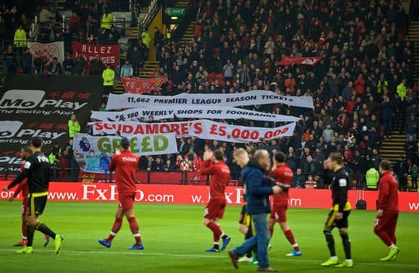 WATFORD, ENGLAND - Saturday, November 24, 2018: Players walk past Liverpool supporters displaying banners against Richard Scrudamore's £5m bonus before the FA Premier League match between Watford FC and Liverpool FC at Vicarage Road. (Pic by David Rawcliffe/Propaganda)