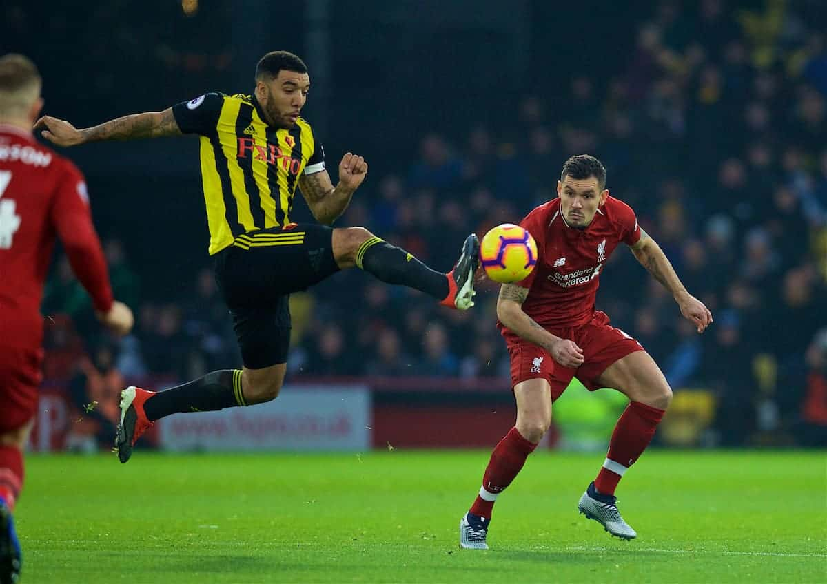 WATFORD, ENGLAND - Saturday, November 24, 2018: Watford's captain Troy Deeney (L) and Liverpool's Dejan Lovren during the FA Premier League match between Watford FC and Liverpool FC at Vicarage Road. (Pic by David Rawcliffe/Propaganda)