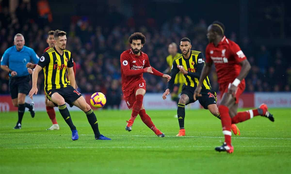 WATFORD, ENGLAND - Saturday, November 24, 2018: Liverpool's Mohamed Salah during the FA Premier League match between Watford FC and Liverpool FC at Vicarage Road. (Pic by David Rawcliffe/Propaganda)