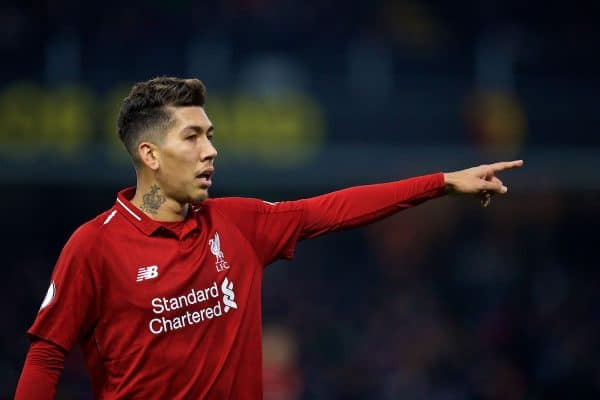 WATFORD, ENGLAND - Saturday, November 24, 2018: Liverpool's Roberto Firmino during the FA Premier League match between Watford FC and Liverpool FC at Vicarage Road. (Pic by David Rawcliffe/Propaganda)