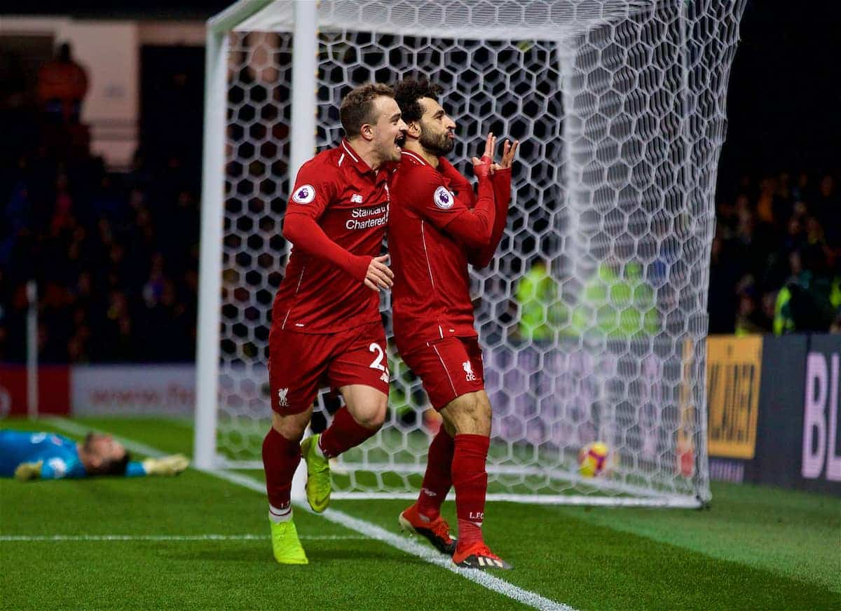 WATFORD, ENGLAND - Saturday, November 24, 2018: Liverpool's Mohamed Salah celebrates scoring the first goal with team-mate Xherdan Shaqiri during the FA Premier League match between Watford FC and Liverpool FC at Vicarage Road. (Pic by David Rawcliffe/Propaganda)