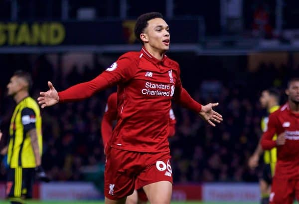 WATFORD, ENGLAND - Saturday, November 24, 2018: Liverpool's Trent Alexander-Arnold celebrates scoring the second goal during the FA Premier League match between Watford FC and Liverpool FC at Vicarage Road. (Pic by David Rawcliffe/Propaganda)