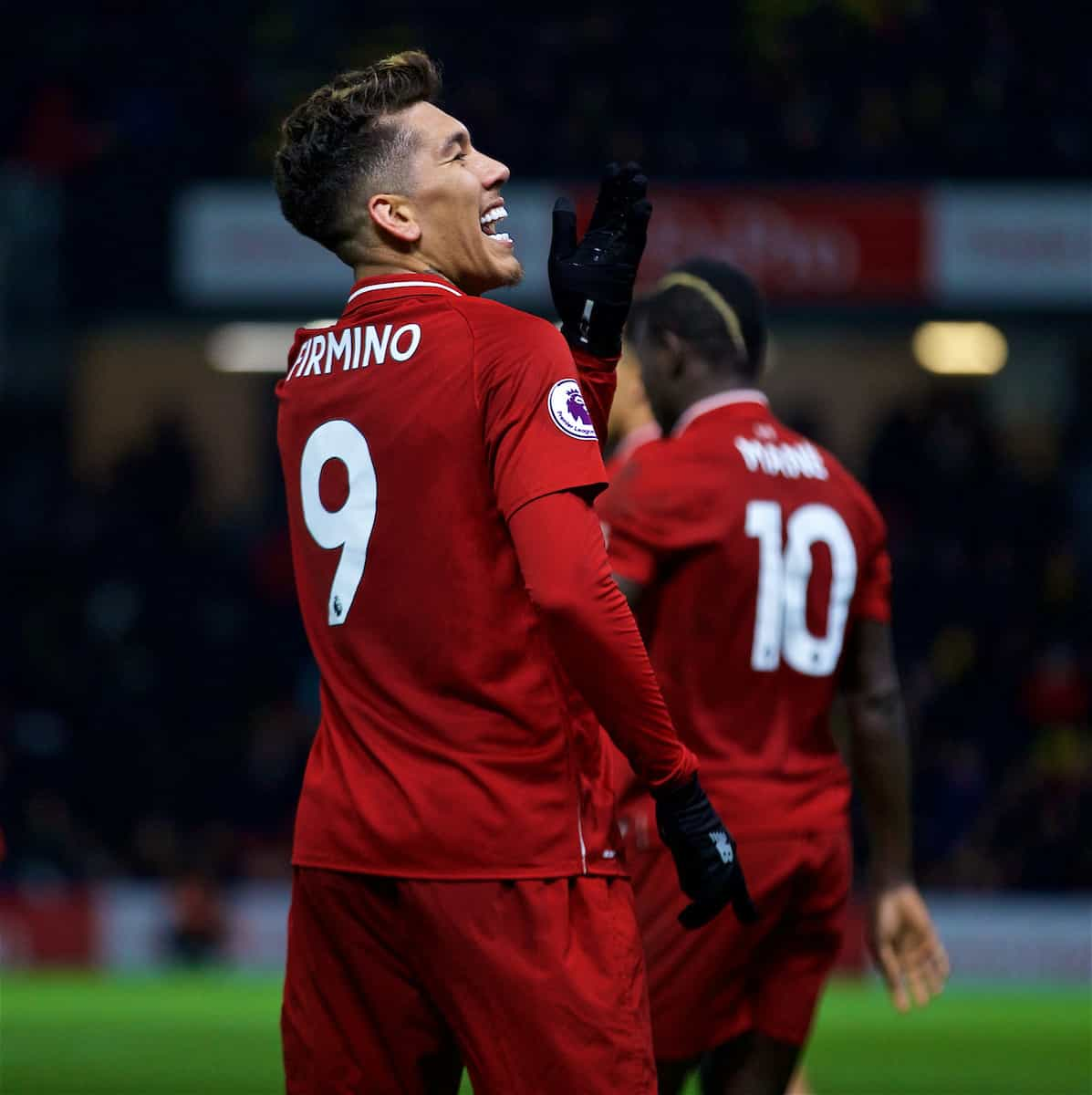 WATFORD, ENGLAND - Saturday, November 24, 2018: Liverpool's Roberto Firmino celebrates scoring the third goal during the FA Premier League match between Watford FC and Liverpool FC at Vicarage Road. (Pic by David Rawcliffe/Propaganda)