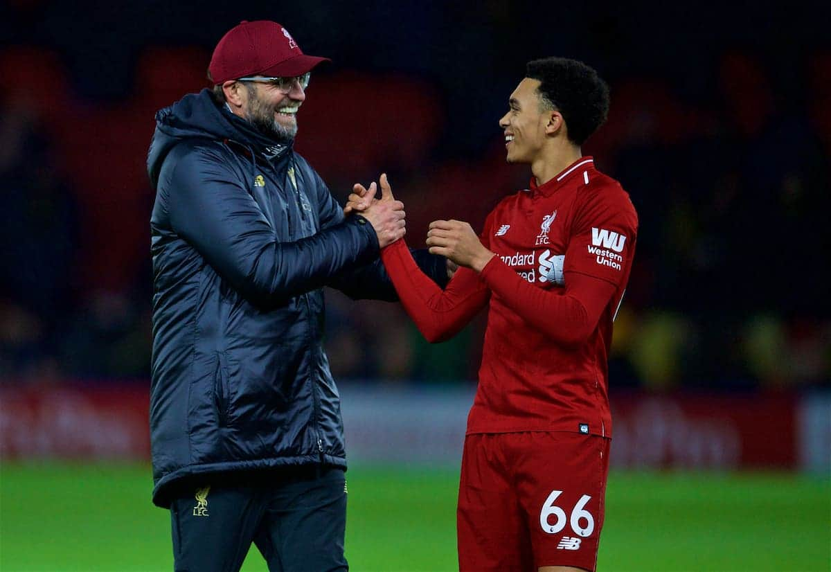 WATFORD, ENGLAND - Saturday, November 24, 2018: Liverpool's manager Jürgen Klopp (L) and Trent Alexander-Arnold after the FA Premier League match between Watford FC and Liverpool FC at Vicarage Road. Liverpool won 3-0. Pic by David Rawcliffe/Propaganda)