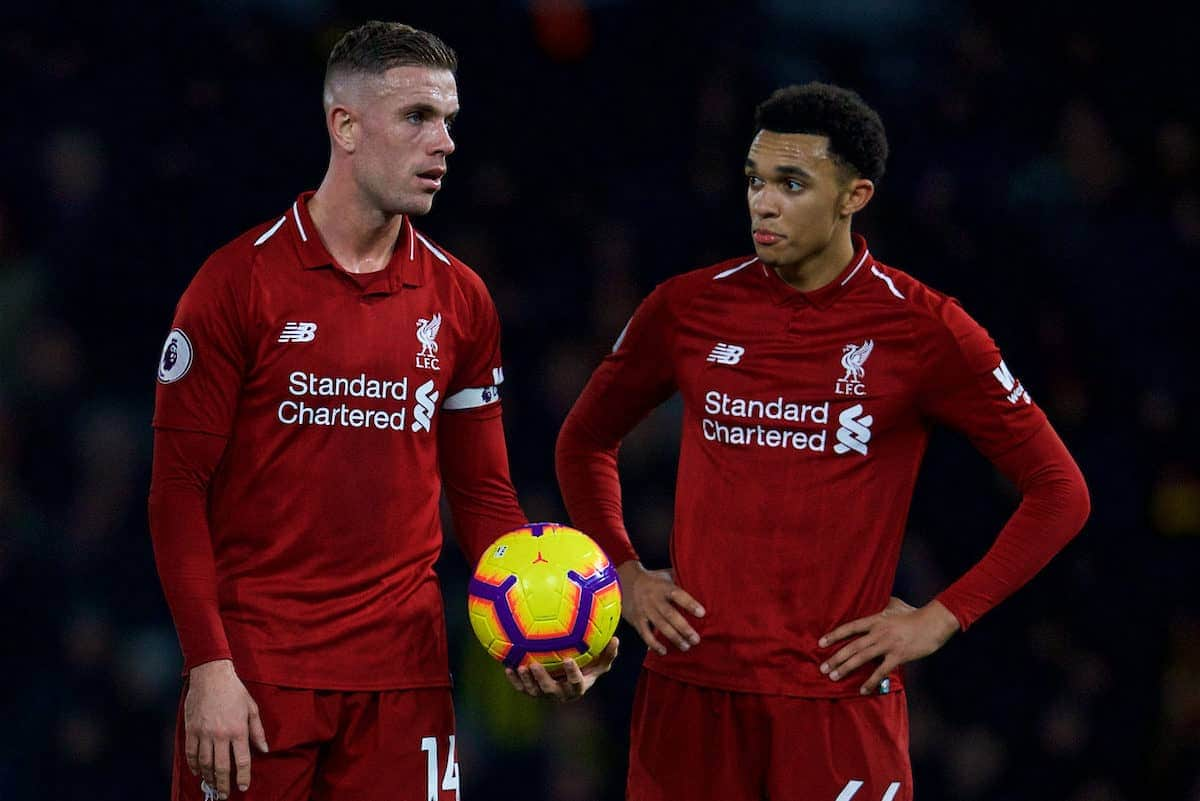 Liverpool's captain Jordan Henderson with the ball but Trent Alexander-Arnold takes it off him to score from a free-kick during the FA Premier League match between Watford FC and Liverpool FC at Vicarage Road. (Pic by David Rawcliffe/Propaganda)