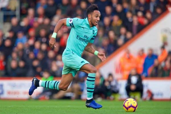BOURNEMOUTH, ENGLAND - Sunday, November 25, 2018: Arsenal's Pierre-Emerick Aubameyang during the FA Premier League match between AFC Bournemouth and Arsenal FC at the Vitality Stadium. (Pic by David Rawcliffe/Propaganda)