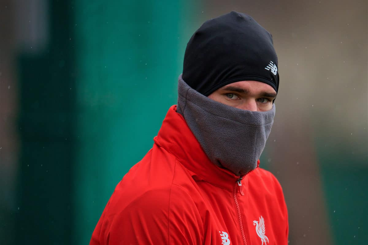 LIVERPOOL, ENGLAND - Tuesday, November 27, 2018: Liverpool's goalkeeper Alisson Becker during a training session at Melwood ahead of the UEFA Champions League Group C match between Paris Saint-Germain and Liverpool FC. (Pic by David Rawcliffe/Propaganda)