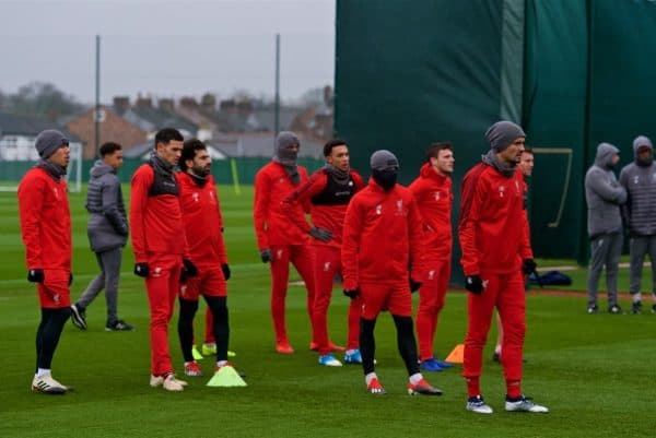 LIVERPOOL, ENGLAND - Tuesday, November 27, 2018: Liverpool players during a training session at Melwood ahead of the UEFA Champions League Group C match between Paris Saint-Germain and Liverpool FC. (Pic by David Rawcliffe/Propaganda)