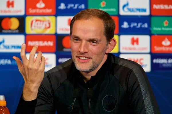 Paris Saint-Germain's head coach Thomas Tuchel during a press conference at Parc des Princes ahead of the UEFA Champions League Group C match between Paris Saint-Germain and Liverpool FC. (Pic by David Rawcliffe/Propaganda)