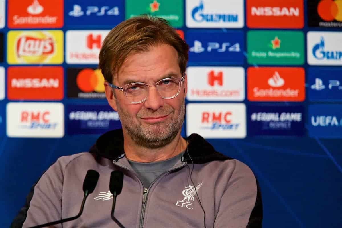 PARIS, FRANCE - Tuesday, November 27, 2018: Liverpool's manager Jürgen Klopp during a press conference at Parc des Princes ahead of the UEFA Champions League Group C match between Paris Saint-Germain and Liverpool FC. (Pic by David Rawcliffe/Propaganda)