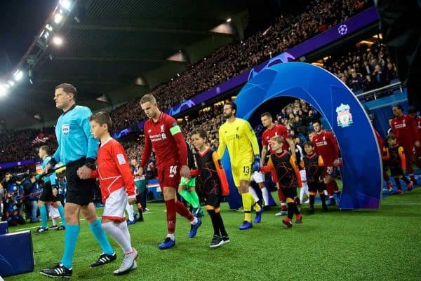 PARIS, FRANCE - Wednesday, November 28, 2018: Liverpool's captain Jordan Henderson leads his team out before the UEFA Champions League Group C match between Paris Saint-Germain and Liverpool FC at Parc des Princes. (Pic by David Rawcliffe/Propaganda)