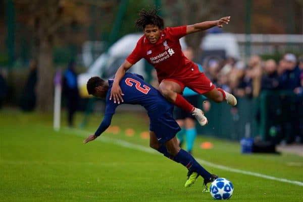 SAINT-GERMAIN-EN-LAYE, FRANCE - Wednesday, November 28, 2018: Liverpool's Yasser Larouci (R) and Paris Saint-Germain's Romaric Yapi during the UEFA Youth League Group C match between Paris Saint-Germain Under-19's and Liverpool FC Under-19's at Stade Georges-Lefèvre. (Pic by David Rawcliffe/Propaganda)
