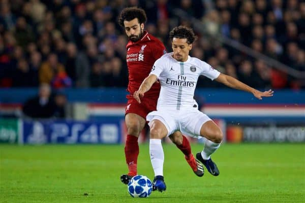 PARIS, FRANCE - Wednesday, November 28, 2018: Liverpool's Mohamed Salah (L) and Paris Saint-Germain's Marcos Aoás Corrêa 'Marquinhos' during the UEFA Champions League Group C match between Paris Saint-Germain and Liverpool FC at Parc des Princes. (Pic by David Rawcliffe/Propaganda)
