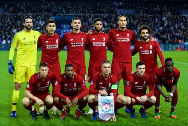 PARIS, FRANCE - Wednesday, November 28, 2018: Liverpool's players line-up for a team group photograph before the UEFA Champions League Group C match between Paris Saint-Germain and Liverpool FC at Parc des Princes. Back row L-R: goalkeeper Alisson Becker, Roberto Firmino, Dejan Lovren, Joe Gomez, Virgil van Dijk, Mohamed Salah. Front row L-R: James Milner, Georginio Wijnaldum, captain Jordan Henderson, Andy Robertson, Sadio Mane. (Pic by David Rawcliffe/Propaganda)
