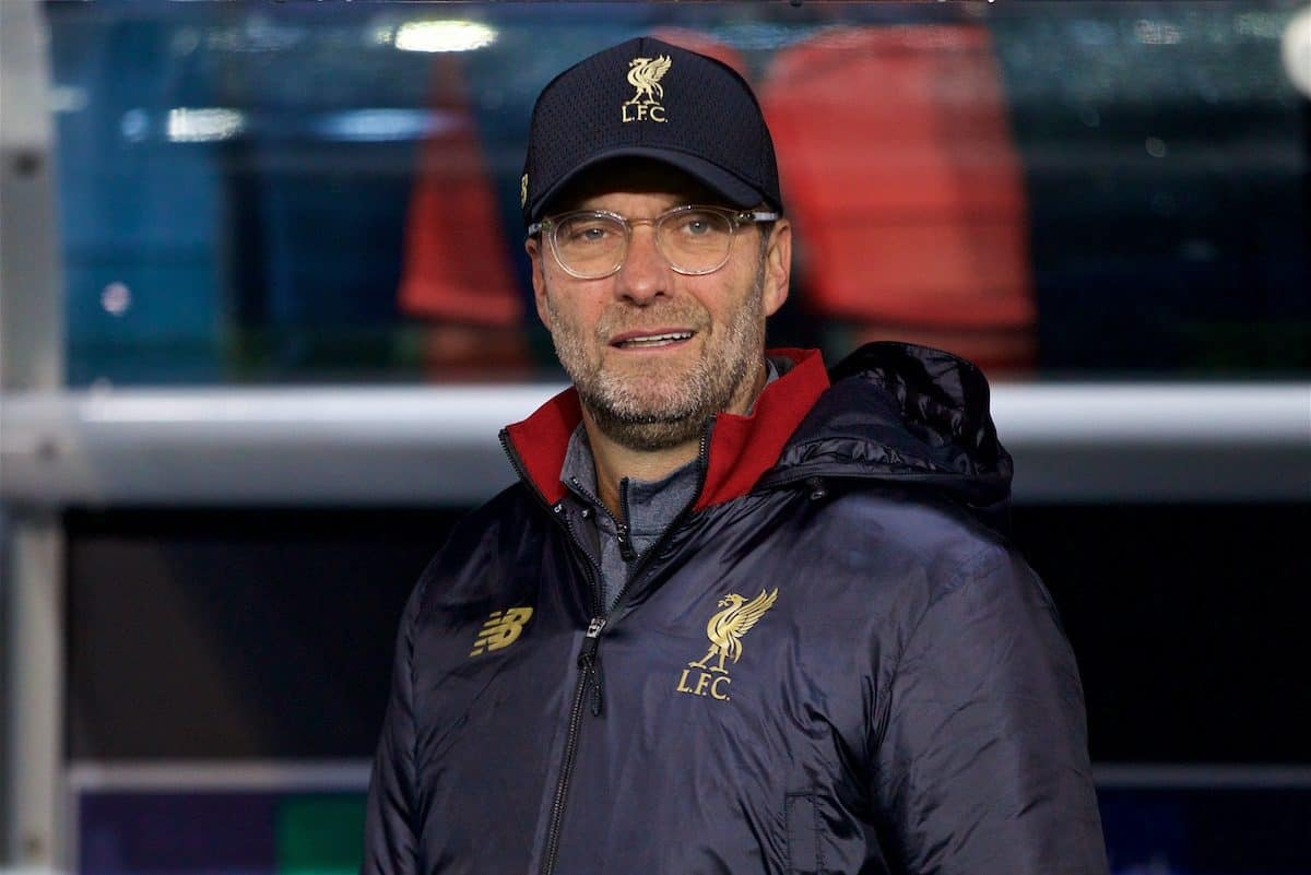 PARIS, FRANCE - Wednesday, November 28, 2018: Liverpool's manager J¸rgen Klopp before the UEFA Champions League Group C match between Paris Saint-Germain and Liverpool FC at Parc des Princes. (Pic by David Rawcliffe/Propaganda)