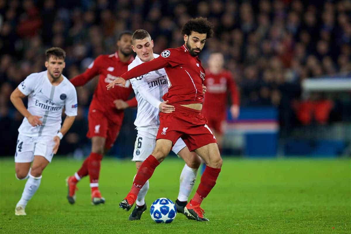 Liverpool's Mohamed Salah is pulled back by Paris Saint-Germain's Marco Verratti during the UEFA Champions League Group C match between Paris Saint-Germain and Liverpool FC at Parc des Princes. (Pic by David Rawcliffe/Propaganda)
