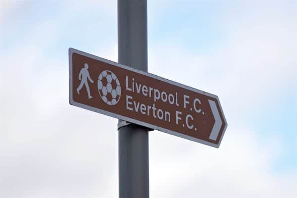 Liverpool, Everton, Merseyside derby, general. Signpost (Pic by Paul Greenwood/Propaganda)