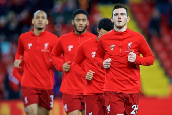 LIVERPOOL, ENGLAND - Sunday, December 2, 2018: Liverpool's Andy Robertson during the pre-match warm-up before the FA Premier League match between Liverpool FC and Everton FC at Anfield, the 232nd Merseyside Derby. (Pic by Paul Greenwood/Propaganda)
