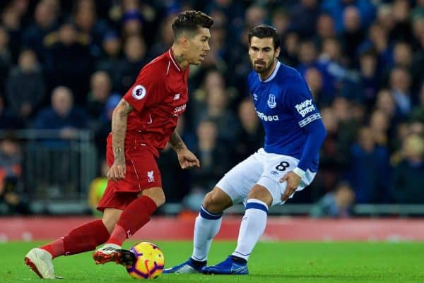 LIVERPOOL, ENGLAND - Sunday, December 2, 2018: Liverpool's Roberto Firmino (L) and Everton's Andre Gomes during the FA Premier League match between Liverpool FC and Everton FC at Anfield, the 232nd Merseyside Derby. (Pic by Paul Greenwood/Propaganda)