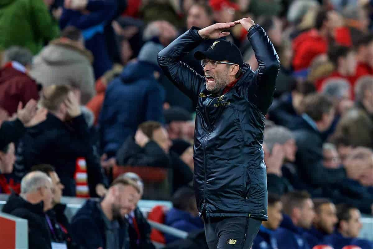 LIVERPOOL, ENGLAND - Sunday, December 2, 2018: Liverpool's manager Jürgen Klopp reacts during the FA Premier League match between Liverpool FC and Everton FC at Anfield, the 232nd Merseyside Derby. (Pic by Paul Greenwood/Propaganda)