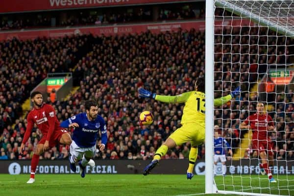 LIVERPOOL, ENGLAND - Sunday, December 2, 2018: Liverpool's goalkeeper Alisson Becker makes a save from Everton's Andre Gomes during the FA Premier League match between Liverpool FC and Everton FC at Anfield, the 232nd Merseyside Derby. (Pic by Paul Greenwood/Propaganda)