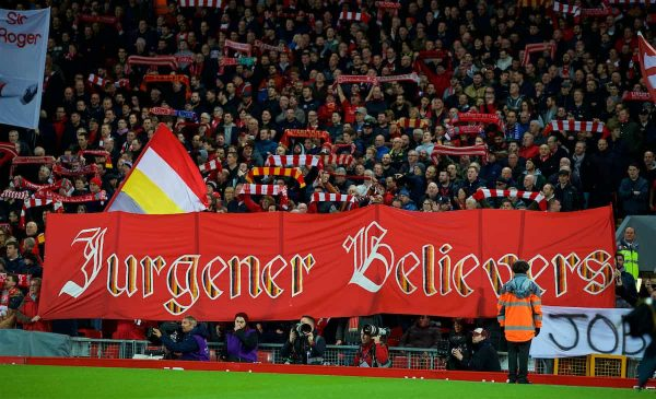 "LIVERPOOL, ENGLAND - Sunday, December 2, 2018: Liverpool supporters' banner ""Jurgener Believers"" during the FA Premier League match between Liverpool FC and Everton FC at Anfield, the 232nd Merseyside Derby. (Pic by Paul Greenwood/Propaganda)"