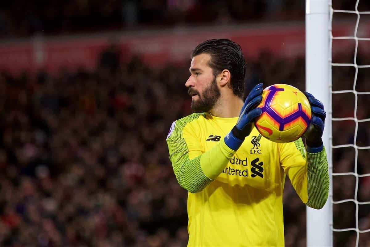 LIVERPOOL, ENGLAND - Sunday, December 2, 2018: Liverpool's goalkeeper Alisson Becker during the FA Premier League match between Liverpool FC and Everton FC at Anfield, the 232nd Merseyside Derby. (Pic by Paul Greenwood/Propaganda)