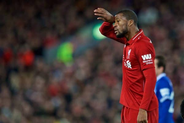 LIVERPOOL, ENGLAND - Sunday, December 2, 2018: Liverpool's Georginio Wijnaldum during the FA Premier League match between Liverpool FC and Everton FC at Anfield, the 232nd Merseyside Derby. (Pic by Paul Greenwood/Propaganda)