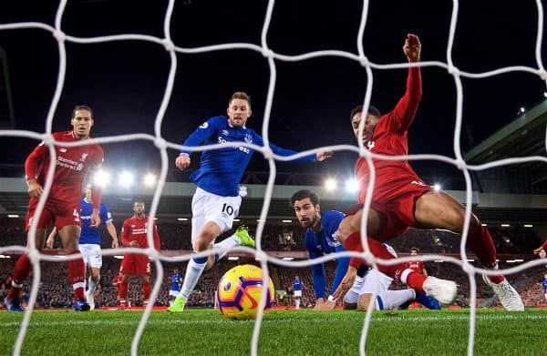 LIVERPOOL, ENGLAND - Sunday, December 2, 2018: Liverpool's Joe Gomez clears the ball off the line from Everton's captain Gylfi Sigurdsson and Andre Gomes during the FA Premier League match between Liverpool FC and Everton FC at Anfield, the 232nd Merseyside Derby. (Pic by Paul Greenwood/Propaganda)