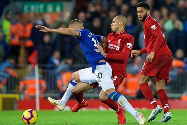LIVERPOOL, ENGLAND - Sunday, December 2, 2018: Liverpool's Fabio Henrique Tavares 'Fabinho' tackles Everton's Richarlison de Andrade during the FA Premier League match between Liverpool FC and Everton FC at Anfield, the 232nd Merseyside Derby. (Pic by Paul Greenwood/Propaganda)