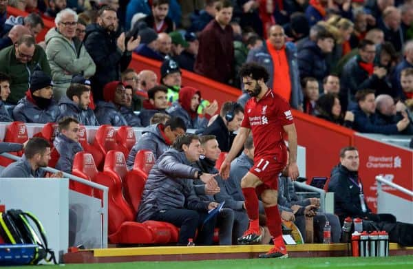 LIVERPOOL, ENGLAND - Sunday, December 2, 2018: Liverpool's Mohamed Salah walks to the bench dejected as he is substituted during the FA Premier League match between Liverpool FC and Everton FC at Anfield, the 232nd Merseyside Derby. (Pic by Paul Greenwood/Propaganda)