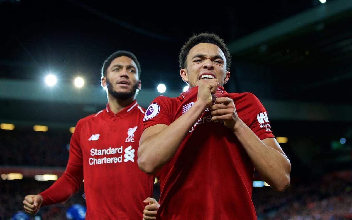 LIVERPOOL, ENGLAND - Sunday, December 2, 2018: Liverpool's Trent Alexander-Arnold (R) and Joe Gomez celebrate after a dramatic injury time 1-0 victory over Everton during the FA Premier League match between Liverpool FC and Everton FC at Anfield, the 232nd Merseyside Derby. (Pic by Paul Greenwood/Propaganda)