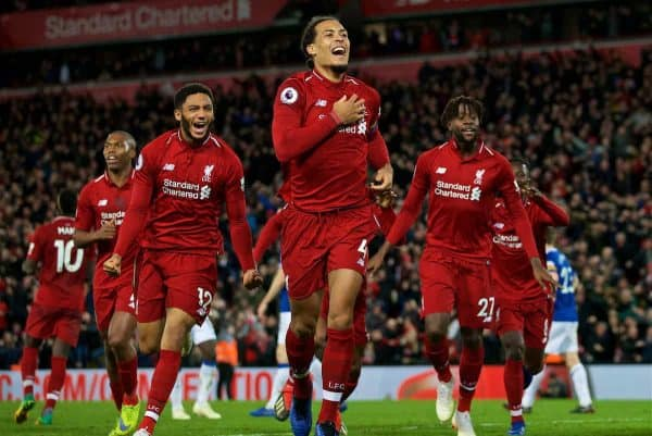 LIVERPOOL, ENGLAND - Sunday, December 2, 2018: Liverpool's Divock Origi (R) celebrates with team-mates Virgil van Dijk (C) and Joe Gomez (L) after his winning goal deep into injury time during the FA Premier League match between Liverpool FC and Everton FC at Anfield, the 232nd Merseyside Derby. Liverpool won 1-0. (Pic by Paul Greenwood/Propaganda)