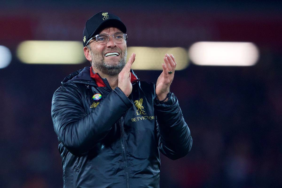 LIVERPOOL, ENGLAND - Sunday, December 2, 2018: Liverpool's manager J¸rgen Klopp celebrates after a dramatic late injury time victory during the FA Premier League match between Liverpool FC and Everton FC at Anfield, the 232nd Merseyside Derby. Liverpool won 1-0. (Pic by Paul Greenwood/Propaganda)