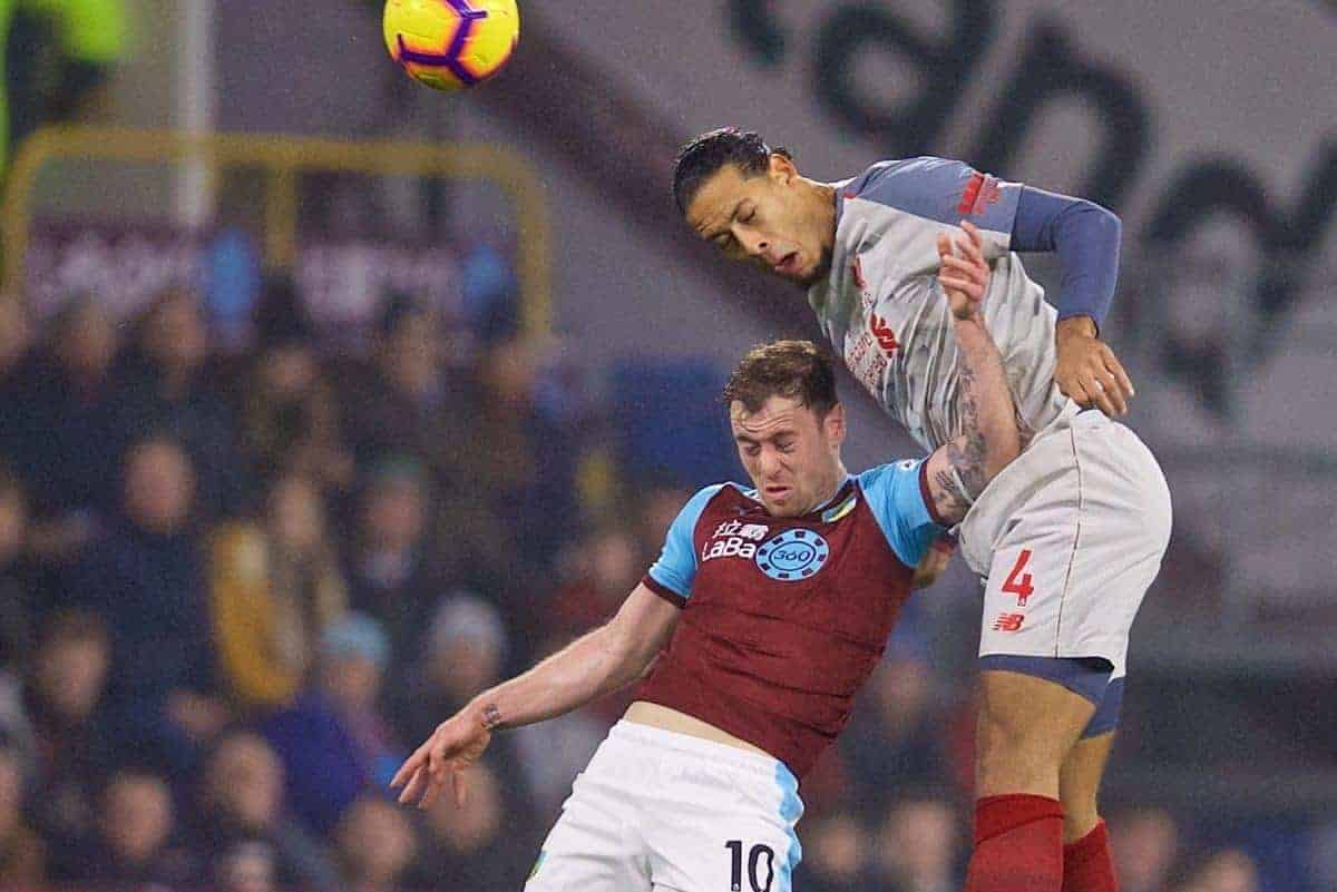BURNLEY, ENGLAND - Wednesday, December 5, 2018: Burnley's Ashley Barnes(L) and Liverpool's Virgil van Dijk during the FA Premier League match between Burnley FC and Liverpool FC at Turf Moor. (Pic by David Rawcliffe/Propaganda)