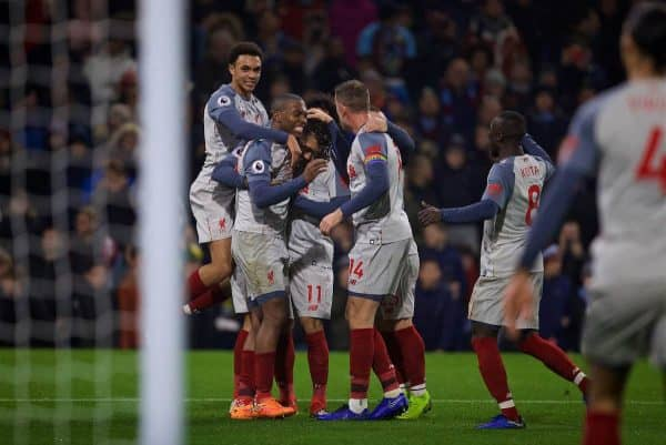 Liverpool's Roberto Firmino celebrates scoring the second goal with team-mates during the FA Premier League match between Burnley FC and Liverpool FC at Turf Moor
