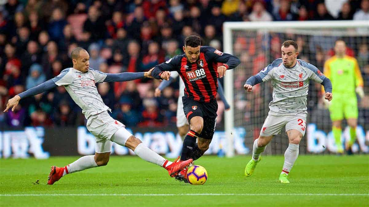 BOURNEMOUTH, ENGLAND - Saturday, December 8, 2018: Liverpool's Fabio Henrique Tavares 'Fabinho' (L), Xherdan Shaqiri (R) and AFC Bournemouth's Joshua King (C) during the FA Premier League match between AFC Bournemouth and Liverpool FC at the Vitality Stadium. (Pic by David Rawcliffe/Propaganda)