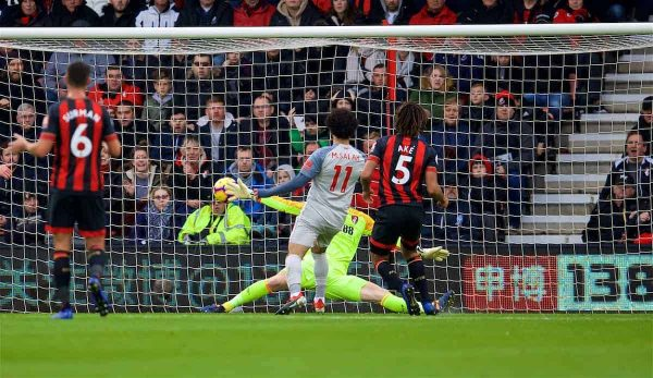 BOURNEMOUTH, ENGLAND - Saturday, December 8, 2018: Liverpool's Mohamed Salah scores the first goal during the FA Premier League match between AFC Bournemouth and Liverpool FC at the Vitality Stadium. (Pic by David Rawcliffe/Propaganda)