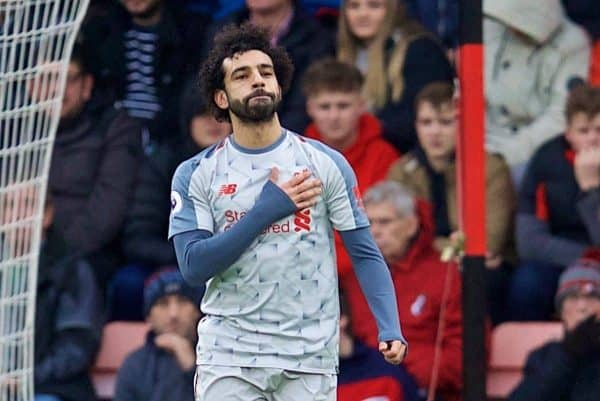 BOURNEMOUTH, ENGLAND - Saturday, December 8, 2018: Liverpool's Mohamed Salah celebrates scoring the first goal during the FA Premier League match between AFC Bournemouth and Liverpool FC at the Vitality Stadium. (Pic by David Rawcliffe/Propaganda)