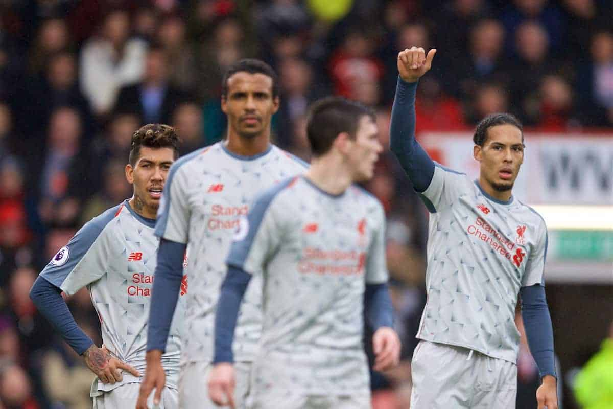 BOURNEMOUTH, ENGLAND - Saturday, December 8, 2018: Liverpool's Virgil van Dijk (R) during the FA Premier League match between AFC Bournemouth and Liverpool FC at the Vitality Stadium. (Pic by David Rawcliffe/Propaganda)